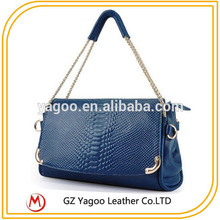 guangzhou wholesale lady charming shoulder bag with snake skin
