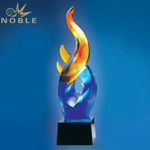 Colorful Art Glass Hand Blown Glass Trophy as Home Decoration Gift