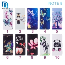 For Samsung Note 8 new series tree butterfly panada ass flower wallet stand leather cell phone case for note 8
