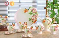 Porcelain 16pcs butterfly and flowers Coffee tea set