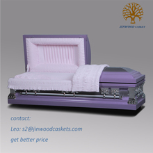 high quality funeral bier in purple pink colored 18ga steel casket