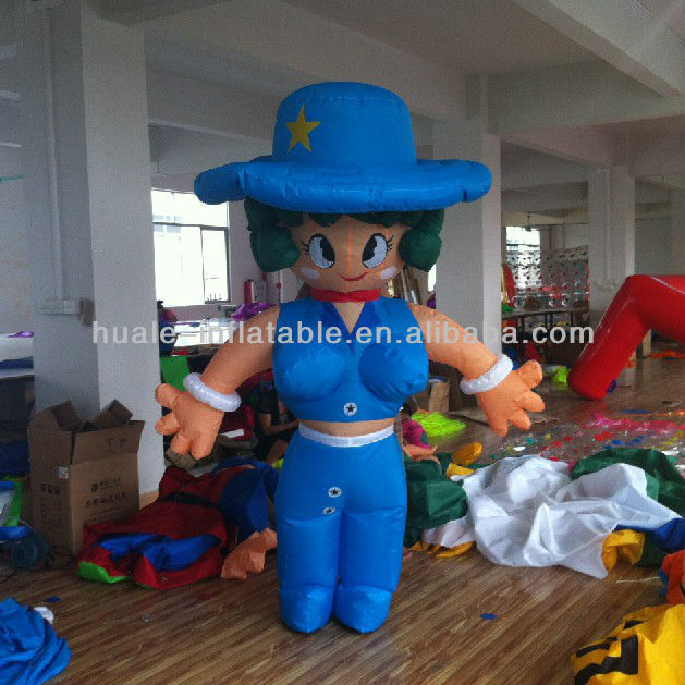 Blue girls inflatable cartoon/Inflatable girl cartoon in sexy lady design for entertainment