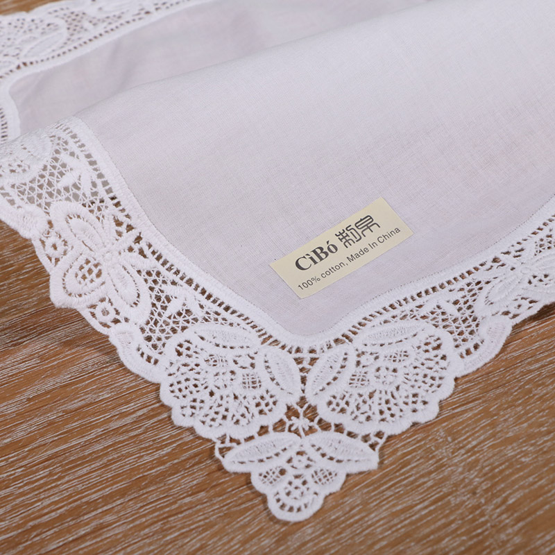 <strong>A008</strong>: White premium cotton lace handkerchiefs crochet hankies for women/ladies wedding gift
