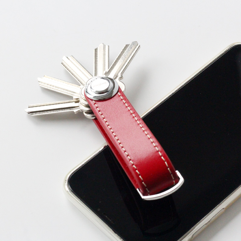 QingGear Smart Key Organizer, Compact Key Holder Leather Keychain, Folding Pocket Key Holder Chain