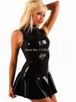 Plus Size XXL XL 2015 Hot Selling Sexy Fetish PVC Clubwear Gothic Wetlook Dress Zip Front Leather Dress Sexy Clothes Free Ship
