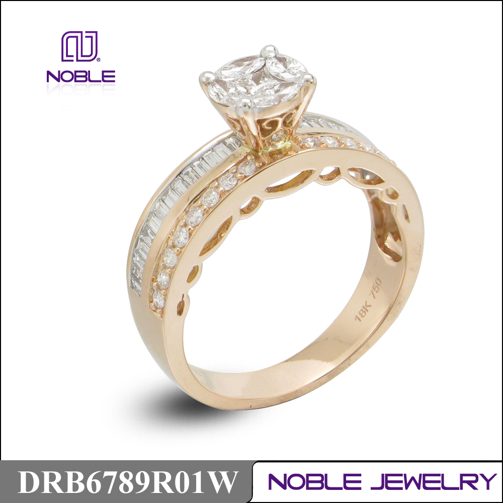 Funny 18K rose gold diamond engagment ring