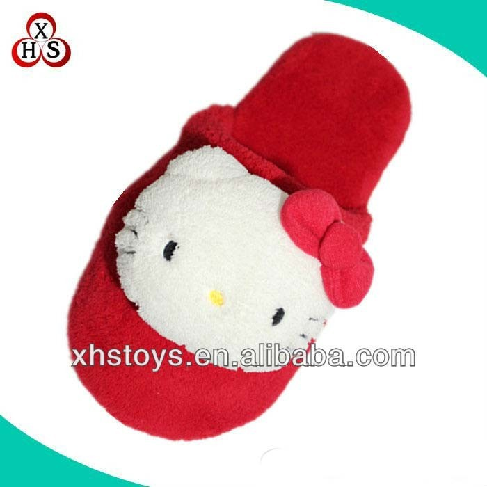 2015 custom hello kitty plush slipper for girl