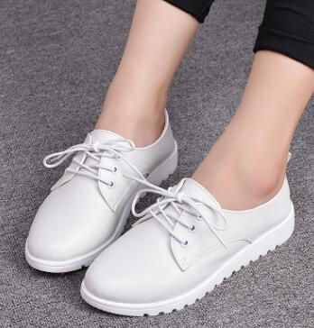 zm20479a Wholesale china shoes from factory soft leather mark thread lady shoes fashion style woman casual flat shoe