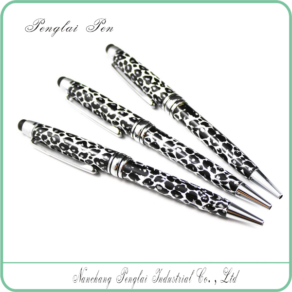 novertly metal touch stylus ballpoint pen leopard print body,sex pen