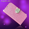 2014 New Lady's favourate shiny powder cover with rhinestone flap for galaxy note 3 luxury flip pu leather case