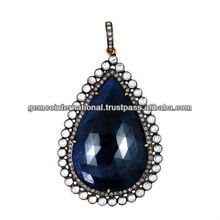 Pave Diamond Bezel Set Moonstone Blue Sapphire Gemstone Pendant