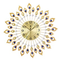 Metal wall clock peacock style electronic clock for home
