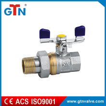 Professional manufacturer M/F 3 pieces brass ball valve with butterfly handle ART252V