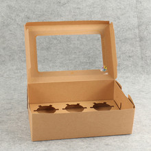 transparent window brown kraft paper box food