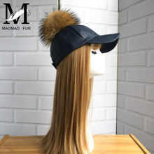 England PU Leather New Style Cap With Raccoon Fur Ball On Top Suede Hat