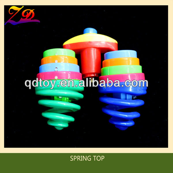 plastic spring led spinning top toy