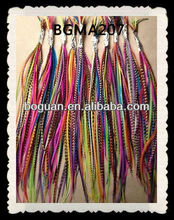 Rainbow Grizzly Rooster Feather Hair Extension