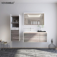 all in one piece acrylic solid surface vanity top bathroom cabinet units, wall hanging wood bathroom furniture customize