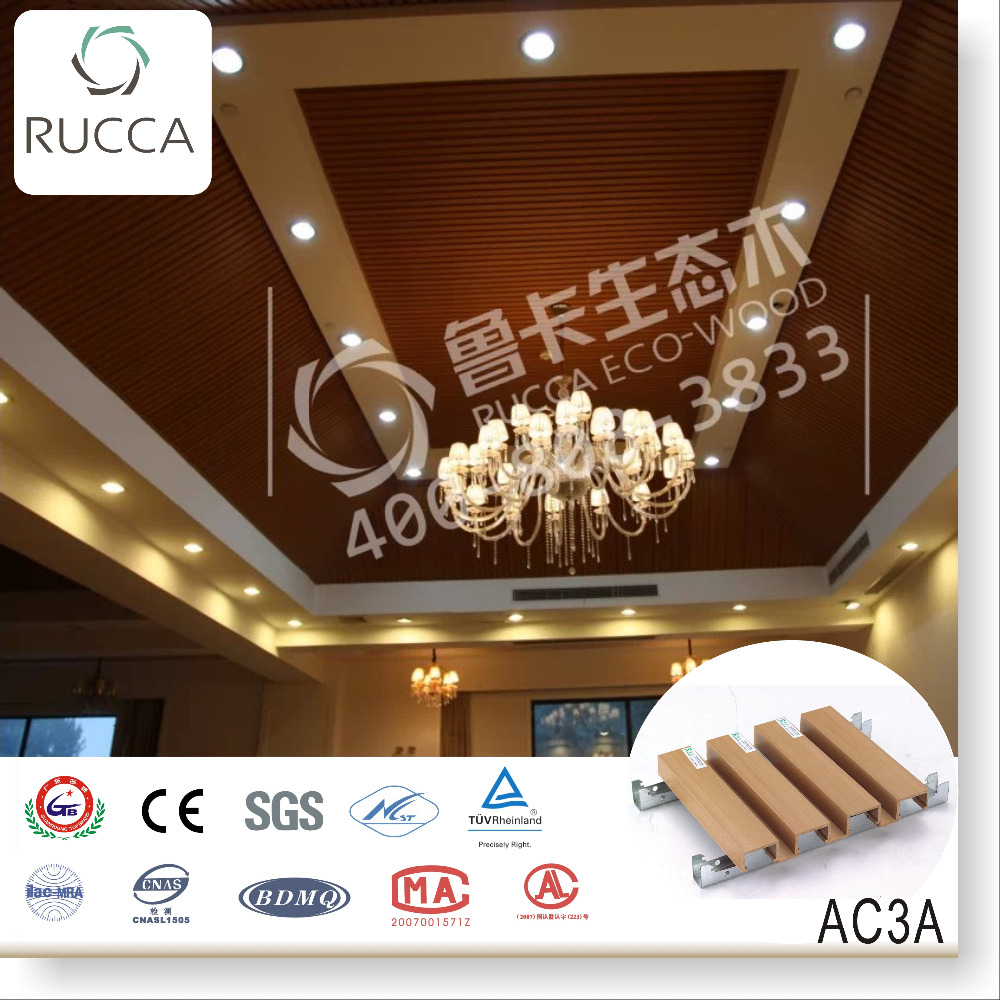 2016 Wood Plastic Cpmposite interior pvc roof of ceiling design 40*25mm waterproof roof panel decor China building materials