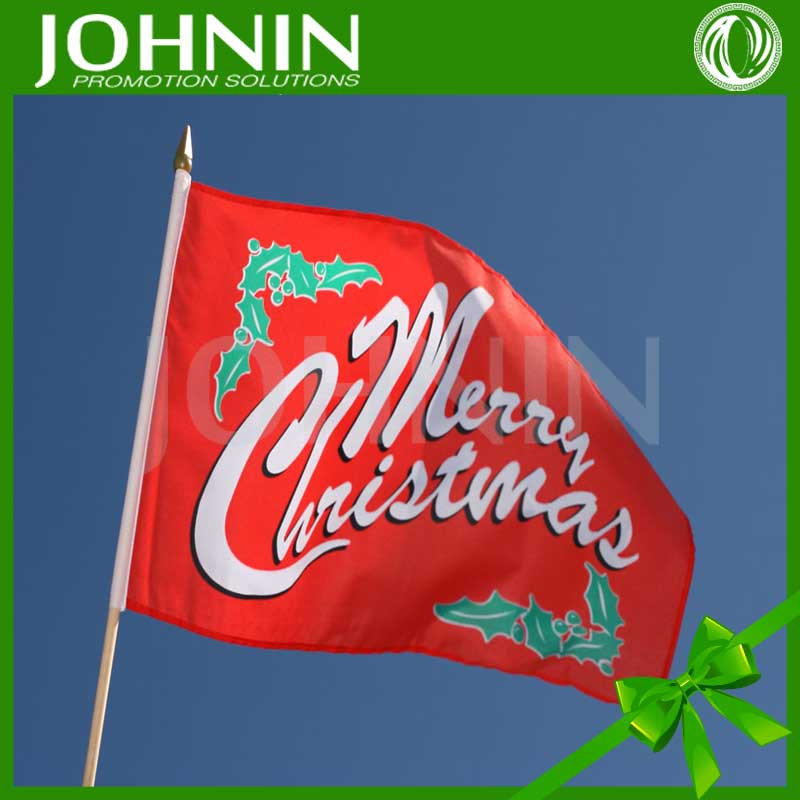 wholesales happy time use hand shaking cheering gift use 60*90cm chiristmas hand flag
