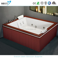 oversized square massage hot tub for 2 person, plastic bathtub, water-proof