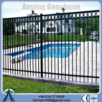 1500 mm *2400 mm 3 rail used wrought iron fence for sale with decorative beautiful circles (20 years warranty)