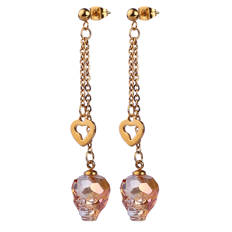 Latest Design Beautiful Rhinestone Skull Fashion Lady Drop Earring