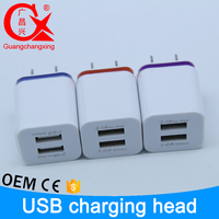 white color for wall 5V 2.1A or 1A two plug usb charger