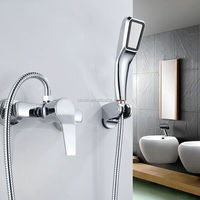 Simple But Elegant Soild Brass Wall Mounted Bathtub Mixer Faucet Tap Set With ABS Hand Shower Chrome 306