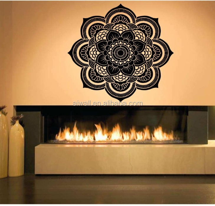 <strong>K100</strong> India Buddha Petal Mandala Flower Pattern Vinyl Wall Sticker Florals Calligraphy Wall Decals Home Decor