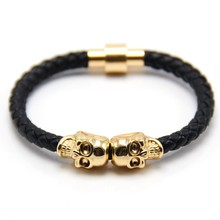 Braided Anchor Bracelet with Alloy Copper Skull Charm for Mens Jewelry