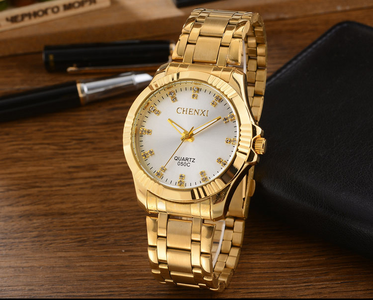 <strong>050</strong> C CHENXI Luxury Brand Gentleman Men Full Gold Watch Stainless Steel Quartz Watches Simple Casual Wristwatches