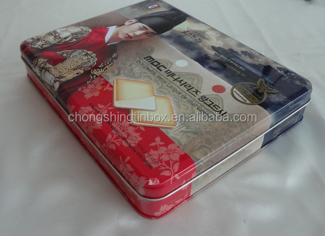 Rectangular Empty tin box for biscuit packing