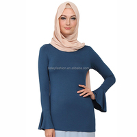 2016 Wholesale OEM Ladies Islamic clothing new design Muslim blouse malaysia tops women