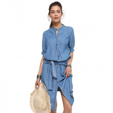 Classic Women's Washed Denim Dress Half Sleeve Casual Clothing European Blouse Fashion Travel Wear With Tie