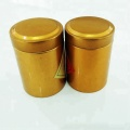 Golden empty tea metal storage tin caddy  with double lid