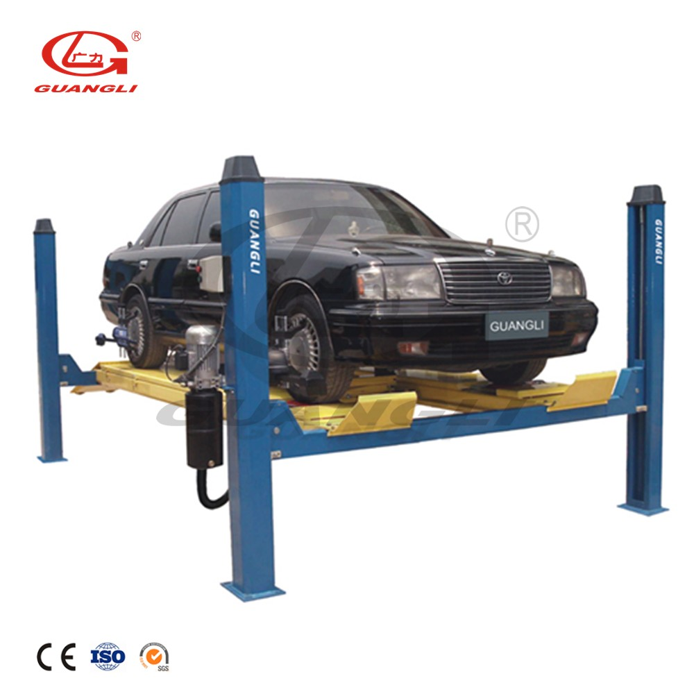 GUANGLI durable life-span hydraulic elevator 4 post car lift used motorcycle lifts