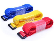 Hook and loop strap adjustable fastener binding strap with plastic button