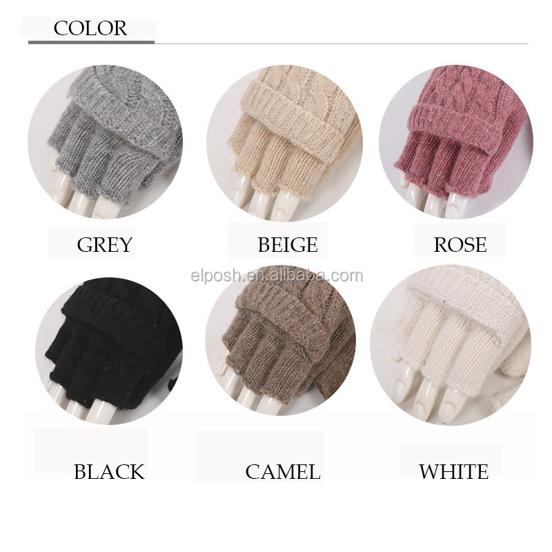 Knit Half Finger Gloves Flip Convertible Mittens
