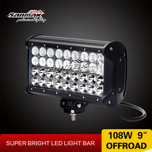 "combo beam working light bar 9"" 108w Cree high power 4x4 aurora led off road light bar"