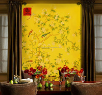 top luxurious wallpaper -100% pure silk with embroidery combine handpainting for classical flowers and birds