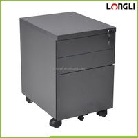 Black move quietly plastic casters 3-drawer steel mobile pedestal