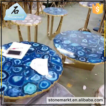 Natural gemstone coffee shop restaurant blue agate table tops wholesale