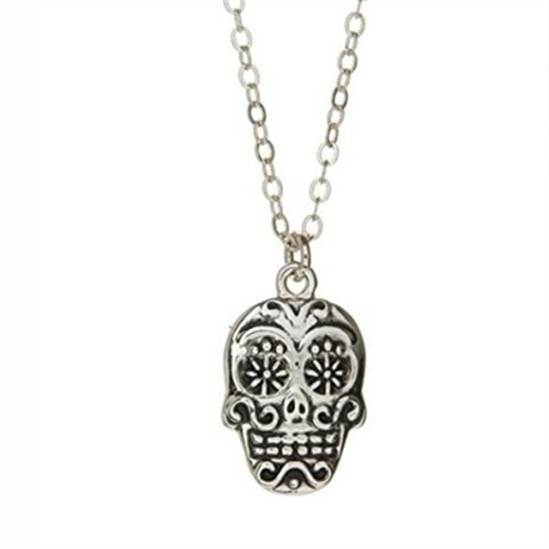 Yiwu Meise Stainless Steel Sugar Skull Necklace Silver Pendant