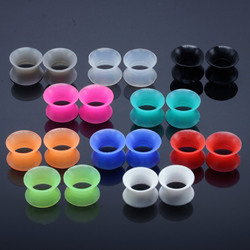 Silicone Hot Red Color Ear Plugs Double Flare Silicon Flesh Tunnel Piercing