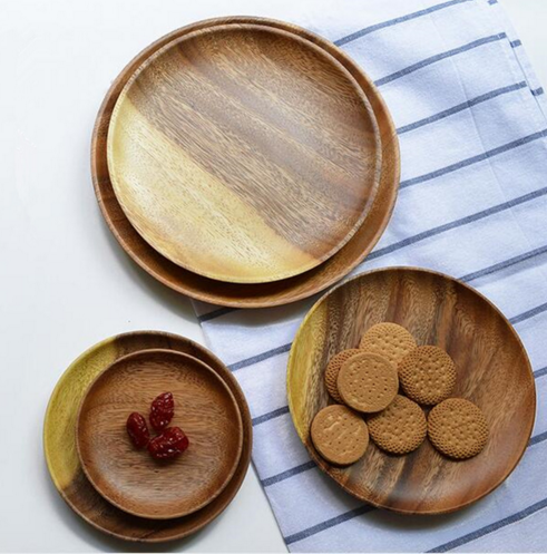 Japanese fashion wooden round dish wooden plate kitchen tool dinnerwares wedding party snack tray