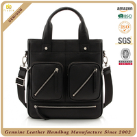 Guangzhou supplier custom 100% cowhide pebble leather weekend bag real leather men travel bag with front pocket