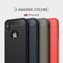 New Arrive Factory Wholesale Price Mobile Phone Carbon Fiber Anti-Skid Shockproof Armor Soft TPU Cover Case for iPhone X