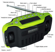 hight quality low price crank hand solar powered radio AM/FM