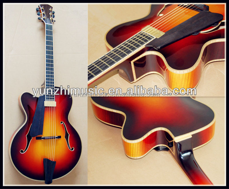 17 inch yunzhi left hand Fully handcarft archtop electric guitar for sale
